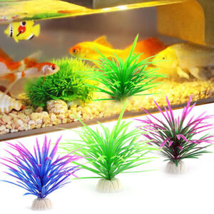 1/10Pcs Artificial Water Grass With Ceramic Base Fish Tank Aquarium Decor