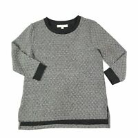 Ann Taylor LOFT Women's Knit Top 3/4 Sleeve Gray Crew Neck Blouse Shirt Small