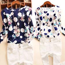 Moderno Mujer Estampado Floral Suéter Blusa manga larga camisetas Malla Camisa
