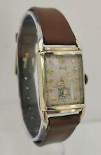 Vintage 1920s Milos 17J Savoy Art Deco Gold Plated Gents Tank Wrist Watch