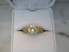 Beautiful 14K Yellow Gold Plated Engagement Ring 1.0Ct Light Yellow Diamond