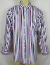 Peter Millar dress shirt long sleeve button front Stripes Mens Size XL