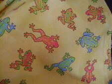 Frogs on yellow allover Quilting Cotton Fabric BTY