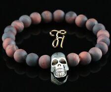 Tiger Eye Red Matte 8mm Bracelet Pearl Bracelet Silver-Coloured Skull