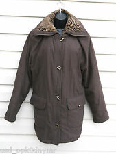 Brown Micro Suede Winter Coat size Medium Leopard Print Collar Toggle Buttons