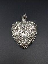 Ancien pendentif coeur flacon de parfum en argent massif 1900