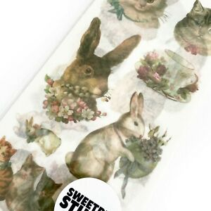 Vintage Cat & Rabbit Victoriana Stickers - 3 Sheets - Scrapbooking Journalling