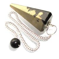Pyrite Iron Pyrites Fools Gold Point Dowsing Pendulum Polished Crystal