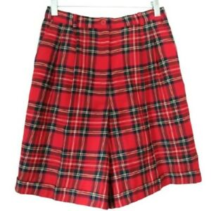 1980s Vintage Worsted Wool Plaid High Waist Shorts Talbots 8P Red White Black