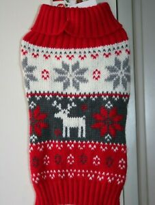 PET Clothes SWEATER Winter Red Gray DOG XS CAT size M snowflakes 1 deer % New