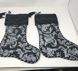 "2 Christmas stockings 18"" Black & Gray Designer Decor Holiday Christmas Tassels"
