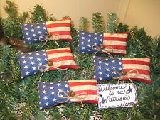 Set of 5 Patriotic Flags ornaments wreath-making American Home Decor