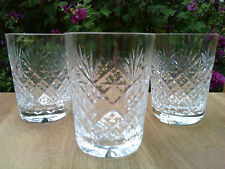 "3 x Webb Corbett Crystal ""Warwick"" Pattern tumblers Glasses  Excellent condition"