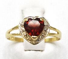SYJEWELLERY 9CT YELLOW GOLD NATURAL HEART CUT GARNET & DIAMOND RING SIZE N R1062
