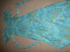 vintage retro 60s 70 blue orange floral maxi dress 8 10 disco festival QUAD rare