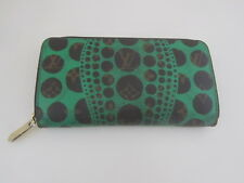 VGC LOUIS VUITTON YAYOI KUSAMA MONGRAM PUMPKIN DOT GREEN LONG WALLET CA2162