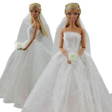 girls toy doll BARBIE wedding white dress + veil princess set outfit dresses BC9