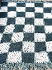 "Crocheted Afghan Handmade Throw  Bedspread blanket green white blocks 60"" x 80"""