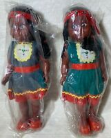 "Lot Of 2 Vintage Native American Chilld Indian Doll 10""  Twins Girl Toy Gift"