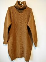 Benetton Womens Vintage Brown 100% Wool Dress Tunic Cable Knit Turtleneck Size S