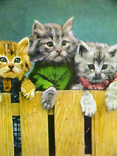 Harry Whittier Frees Three SWEET KITTENS Looking over a Fence 1958 Print Matted
