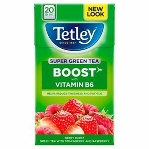Tetley Berry Burst Super Green Tea With Strawberry And Raspberry Flavor 20 Bags