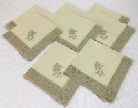 Eight Large Dinner Napkins, Cotton Blend, Crocheted Lace Border, Very Lt. Beige