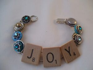 Stacked Button Bracelet Scrabble Wood Tiles JOY Hand Made Wearable Art OOAK Blue