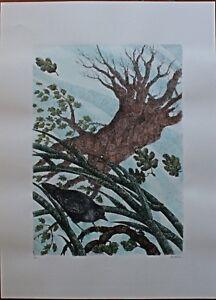 Enzo Bellini serigrafia colorata a mano La Canna e la Quercia 70x50 firmata 1987