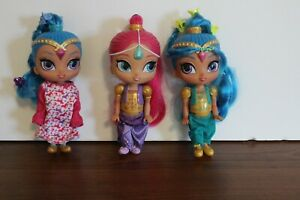 Lot of 3 Mattel 2015 Shimmer Shine Blue Pink Hair Genie Small Dolls