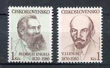 33311) CZECHOSLOVAKIA 1980 MNH** Engels, Lenin 2v