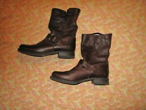 VGUC Frye Veronica Women's Size 10M Chocolate Brown Leather Zip Engineer Boots