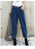 Women's Casual BF Style High Waist Loose Washed Denim Pants Baggy Long Jeans