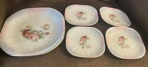 """Vintage Lot Of 5 Limoges China Sebring Ohio 9.5""""Square Plate & Four Saucers 6"""""""