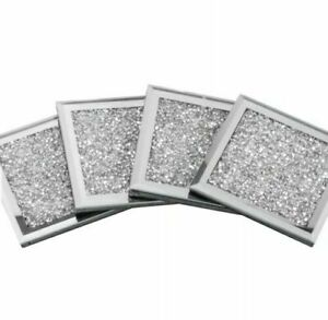 Set of 4 Square Mirrored Crushed Crystal COASTERS Sparkle Table Diamond Glitter