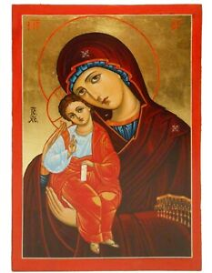 EARLY-MID 20TH C VINT RUSSIAN ICON OIL on WOOD PANEL 'MOTHER OF PERPETUAL HELP'