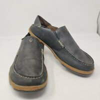 OluKai Moloa Men's 10.5 M Black Leather Slip-On Shoes