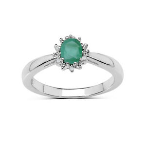 STERLING SILVER EMERALD & DIAMOND CLUSTER ENGAGEMENT RING SIZE HIJKLMNOQRSTUW