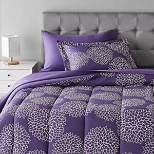Amazon Basics 5-Piece Light-Weight Microfiber Bed-In-A-Bag Comforter Bedding ...