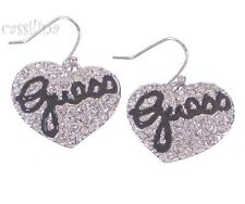 Guess Silver Heart Earrings Black UBE81101 Valentines Day Gift Jewelry