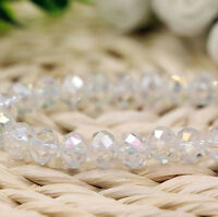 Wholesale White AB Crystal Glass Loose Spacer Beads Jewelry Findings 4/6/8/10MM
