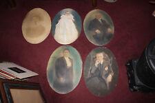 Antique Victorian Pastel Portrait Drawings-5 Photo Portraits-Oval Shaped-Creepy