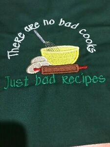 Short Half Apron Embroidered, mothers day gift, chef, cook, birthday