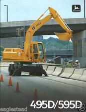 Equipment Brochure - John Deere - 495D 595D - Wheel Excavator - c1989 (E2372)