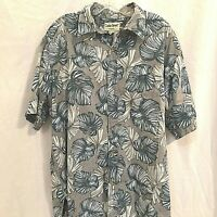 Cooke Street Mens Hawaiian Shirt Size XL Cotton Palm Leaves Gray Beige and Blue
