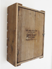 Wall Mounted Crate Cabinet With Door Rustic Wood Chocolat Kitchen Storage New