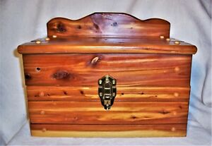 """small hand made aromatic cedar wood chest with drawer 16""""x12""""x12"""" lockable euc"""