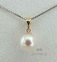 HS Japanese Akoya Cultured Pearl 9.76mm Pendant 18K Yellow Gold Top Grading