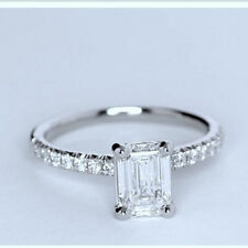 Engagement Ring In 14K White Gold Plated Emerald Cut Cz Dia 925 Sterling Silver