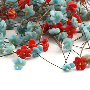 Lot (220) Vintage Czech lampwork glass red and blue flower wired headpin beads